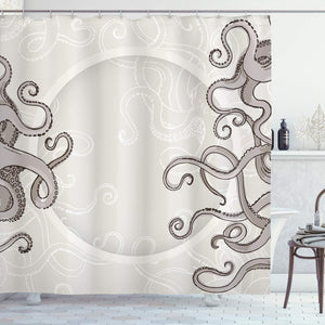"Ambesonne Kraken Shower Curtain, Fish Octopus Tentacles with a Circular Shape Surreal Universe Treasure Beast Graphic, Cloth Fabric Bathroom Decor Set with Hooks, 84"" Long Extra, Dust Taupe"
