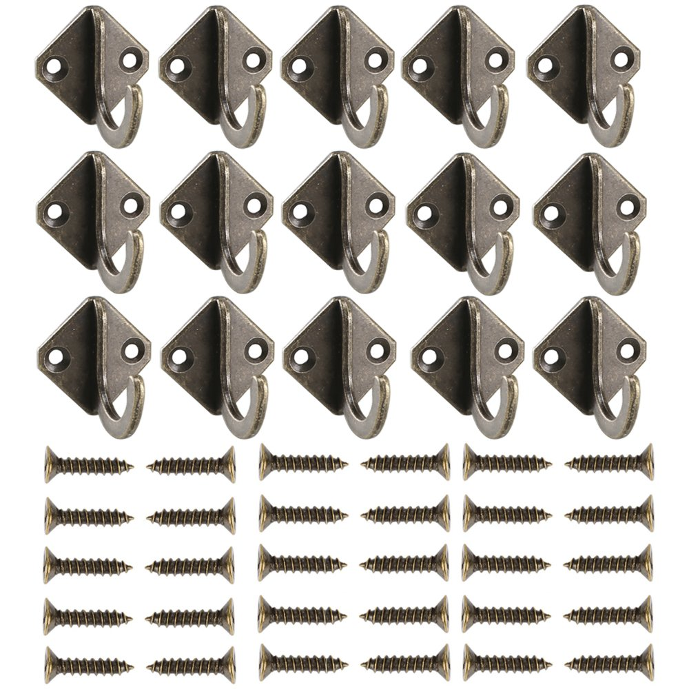 15PCS Single Prong Robe Hook Bronze Coat Clothes Hat Wall Mount Hanger w/Screw from INNKER