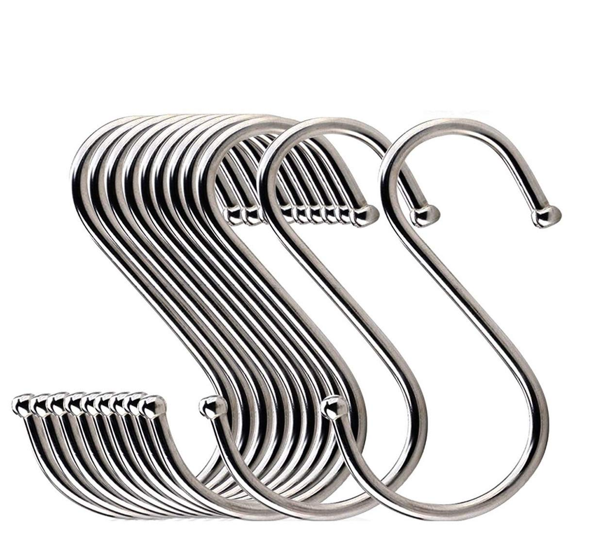 20Pcs S Shaped Hooks Stainless Steel Metal Hangers Hanging Hooks for Kitchen, Office, Work Shop, Bedroom, Bathroom, Garden
