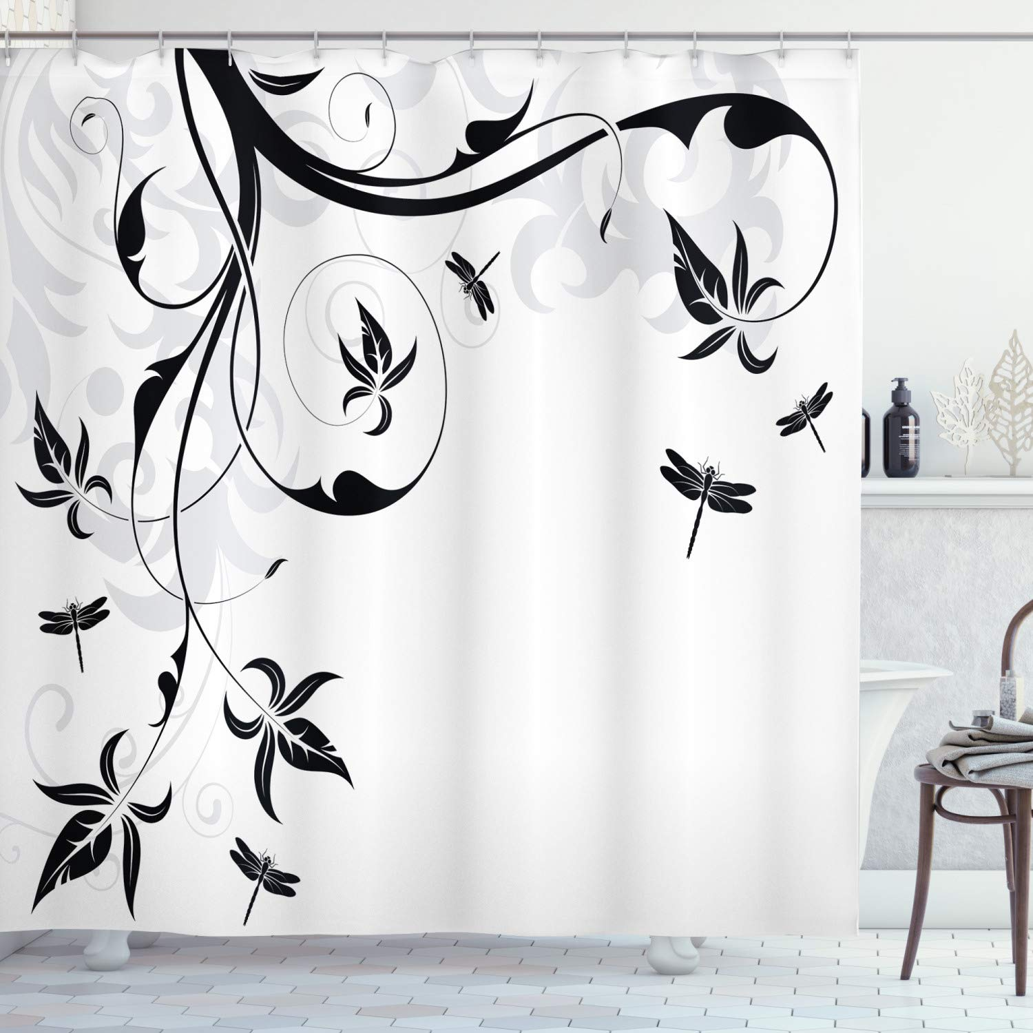 Ambesonne Dragonfly Shower Curtain, Swirled Floral Background with Damask Curl Branches and Leaves Print, Fabric Bathroom Decor Set with Hooks, 70 inches, Light Grey
