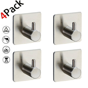 YOLOPLUS 4 Pack Towel Hooks/Bathroom Hook - 3M Self Adhesive Hooks Office Hooks Hanging Keys for Kitchen Stick on Wall Stainless Steel for Hanging for Robe, Coat, Towel, Keys, Bags, Home, Kitchen