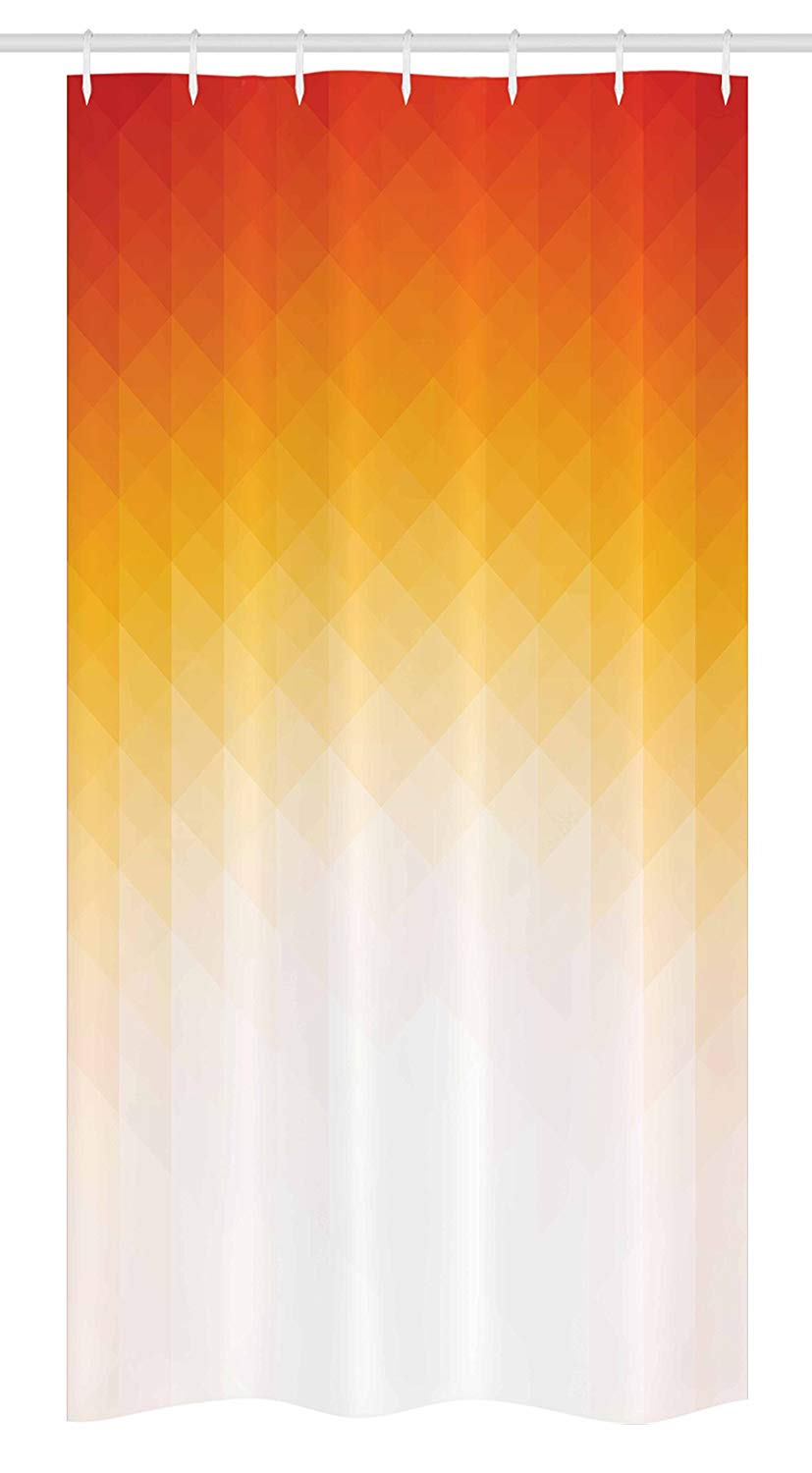 "Ambesonne Geometric Stall Shower Curtain, Ombre Geometric Triangle Shape by Digital Gradient Modern Retro Style, Fabric Bathroom Decor Set with Hooks, 36"" X 72"", Yellow Orange"