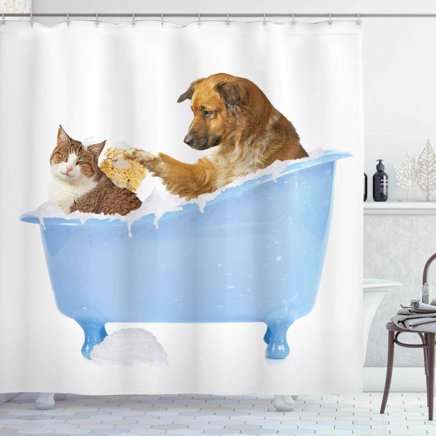 "Ambesonne Cat Shower Curtain, Dog Kitty in The Bathtub Together Bubbles Shampooing Having Shower Fun Print, Cloth Fabric Bathroom Decor Set with Hooks, 84"" Extra Long, White Blue"