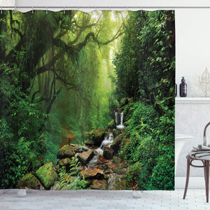 "Ambesonne Rainforest Shower Curtain, Forest in Nepal Footpath Wildlife Spring Plant and Stones Moisture Water Print, Cloth Fabric Bathroom Decor Set with Hooks, 75"" Long, Green Brown"