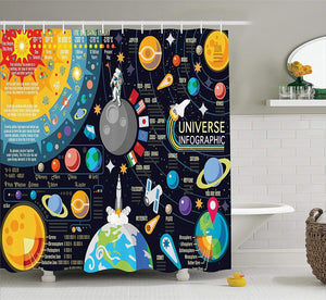 Ambesonne Outer Space Decor Collection, New Horizons of Solar System Infographic Pluto Venus Mars Jupiter Skyrocket Design, Polyester Fabric Bathroom Shower Curtain Set with Hooks, Blue Yellow