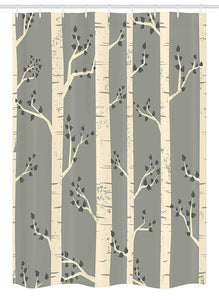 "Ambesonne Grey Stall Shower Curtain, Birch Tree Branches Vintage Bohemian Contemporary Illustration of Nature, Fabric Bathroom Decor Set with Hooks, 54"" X 78"", Warm Taupe"