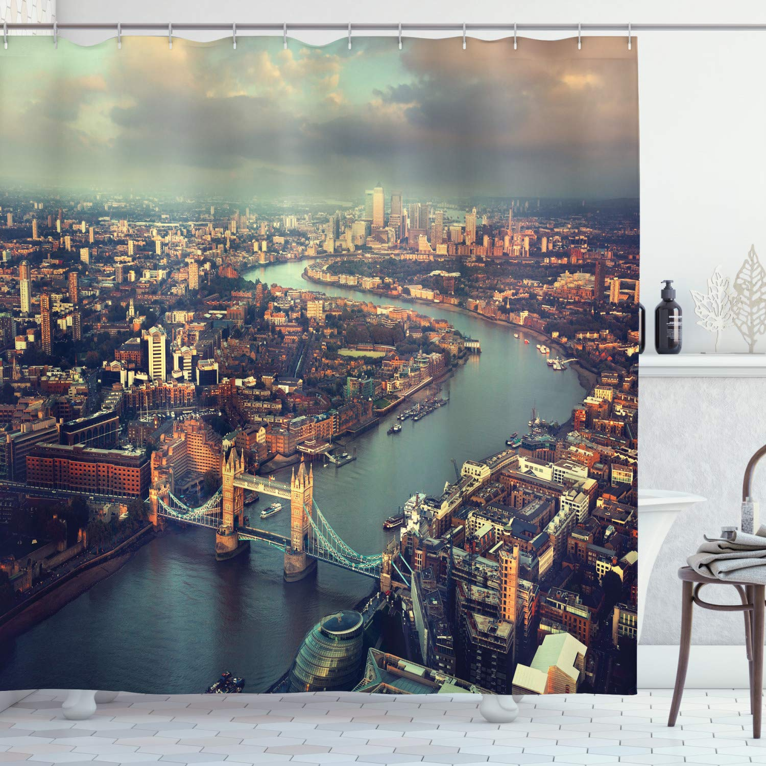 Ambesonne London Aerial View Decor Collection, Panoramic Picture of Thames River and Tower Bridge Picture Print, Polyester Fabric Bathroom Shower Curtain Set with Hooks, Blue Ivory Turquoise