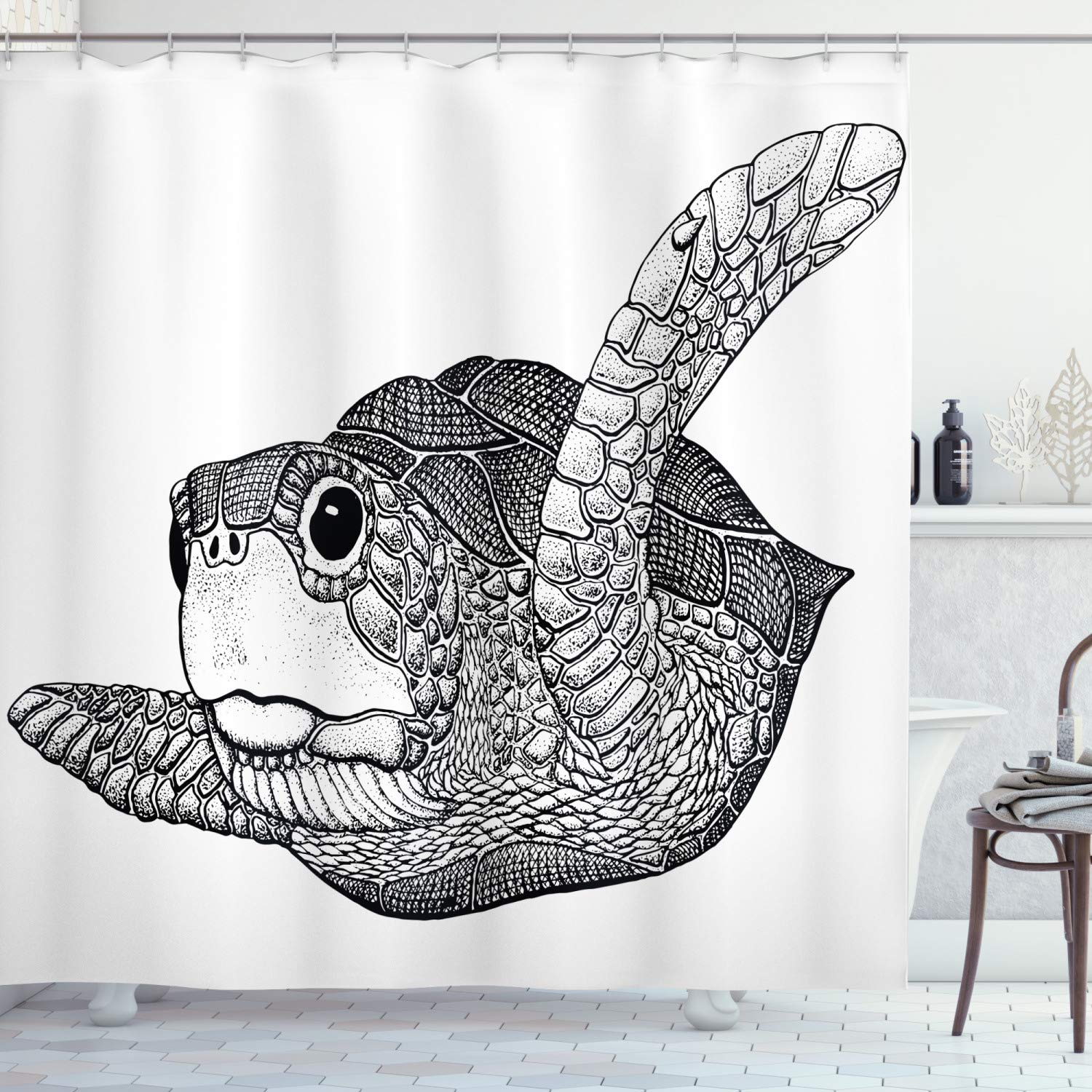 Ambesonne Nautical Shower Curtain, Cute Sea Turtle Marine Animal Exotic Creature Ocean Underwater Illustration, Fabric Bathroom Decor Set with Hooks, 84 Inches Extra Long, Light Grey White