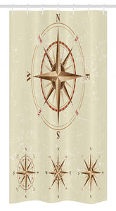"Ambesonne Compass Stall Shower Curtain, 4 Different Compasses in Retro Colors Discovery Equipment Where Nautical Marine, Fabric Bathroom Decor Set with Hooks, 36"" X 72"", Beige Tan"