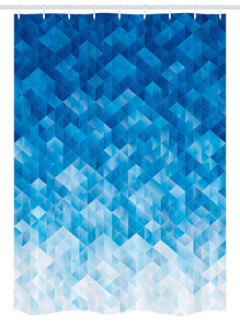 "Ambesonne Geometric Stall Shower Curtain, Geometric Gradient Digital Texture with Mosaic Triangle Pixel Graphic Print Art, Fabric Bathroom Decor Set with Hooks, 54"" X 78"", Blue White"