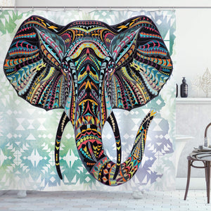 Ambesonne Animal Figures Decorations Elephant for Nursery Vintage Tribe Stripe Pattern Design, Polyester Fabric Bathroom Shower Curtain Set with Hooks