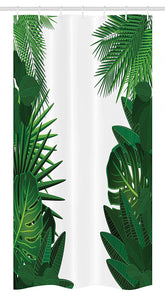 "Ambesonne Leaf Stall Shower Curtain, Exotic Fantasy Hawaiian Tropical Palm Leaves with Floral Graphic Artwork Print, Fabric Bathroom Decor Set with Hooks, 36"" X 72"", Green White"