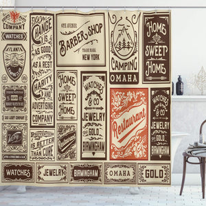 "Ambesonne Antique Shower Curtain, Composition of Old Advertisement Designs Newspaper Nostalgia Illustration, Cloth Fabric Bathroom Decor Set with Hooks, 70"" Long, Brown Orange"