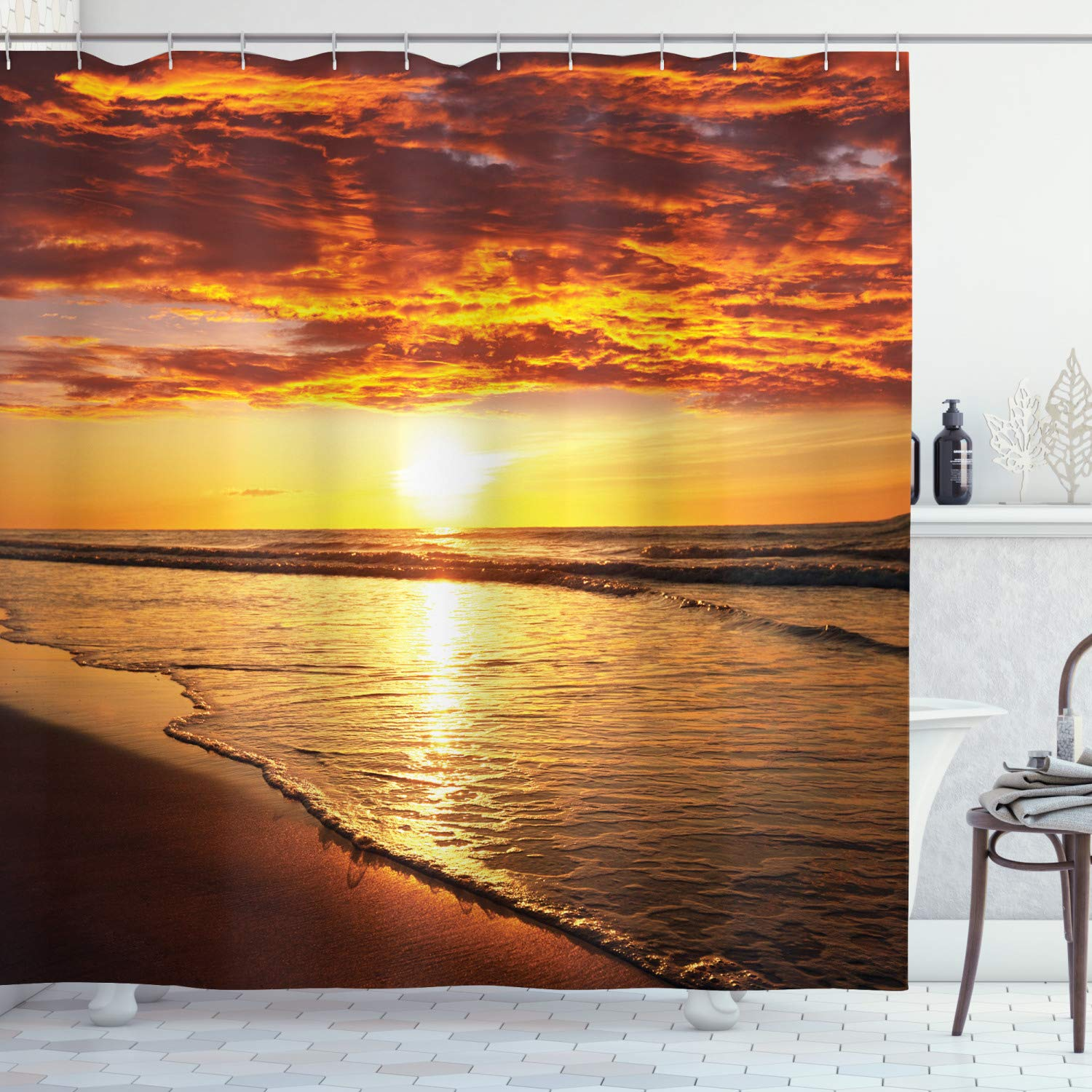 Ambesonne Hawaiian Decor Collection, Scenery Picture Print of Beach and Sunset Ocean Waves Print, Polyester Fabric Bathroom Shower Curtain Set with Hooks, Gold Orange Dark Ecru