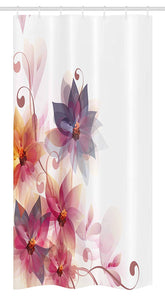 Ambesonne Abstract Decor Stall Shower Curtain, Modern Floral Design with Burts and Leaves Detail Romantic Image, Fabric Bathroom Decor Set with Hooks, 36 W x 72 L Inches, Pink Purple and Orange