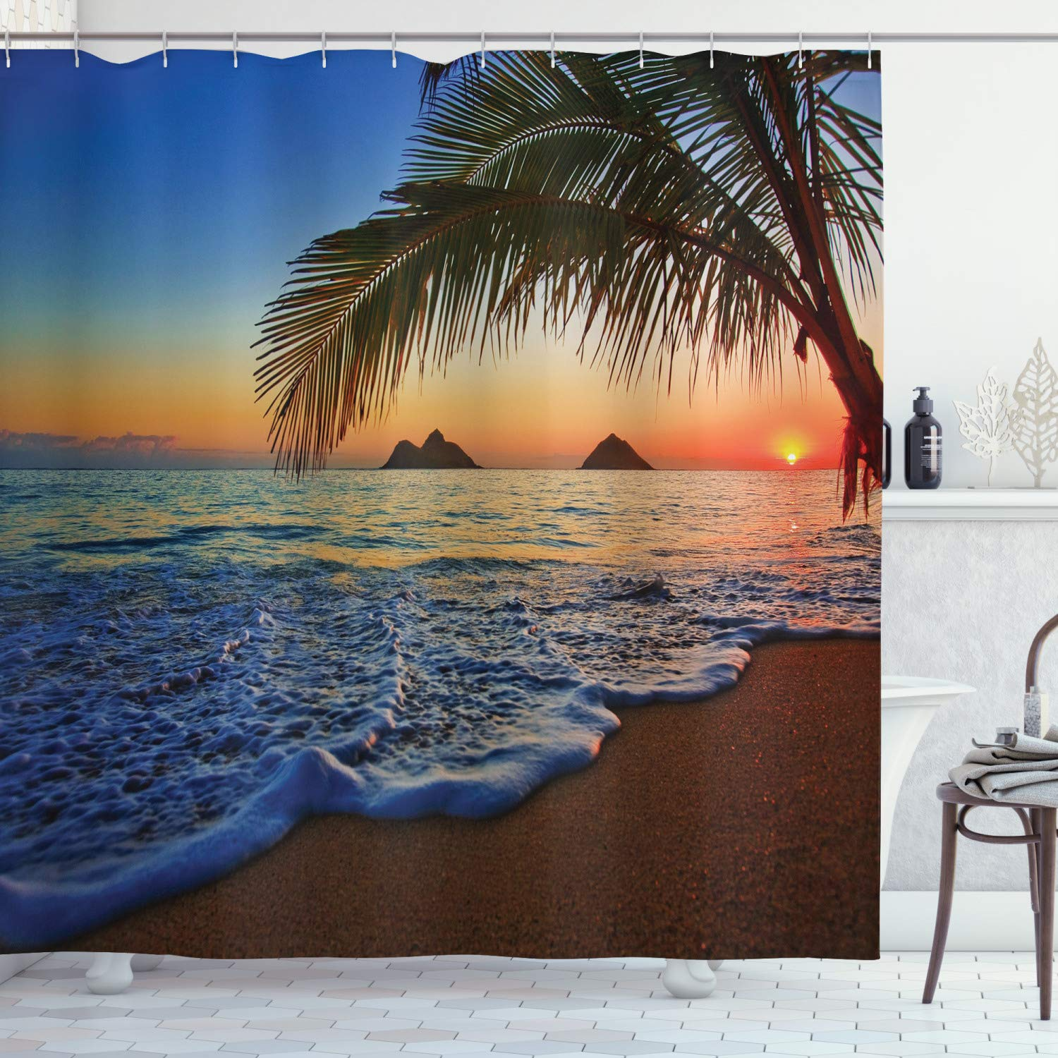 "Ambesonne Hawaiian Shower Curtain, Pacific Sunrise at Lanikai Beach Hawaii Colorful Sky Wavy Ocean Surface Scene, Cloth Fabric Bathroom Decor Set with Hooks, 84"" Extra Long, Blue Ivory"