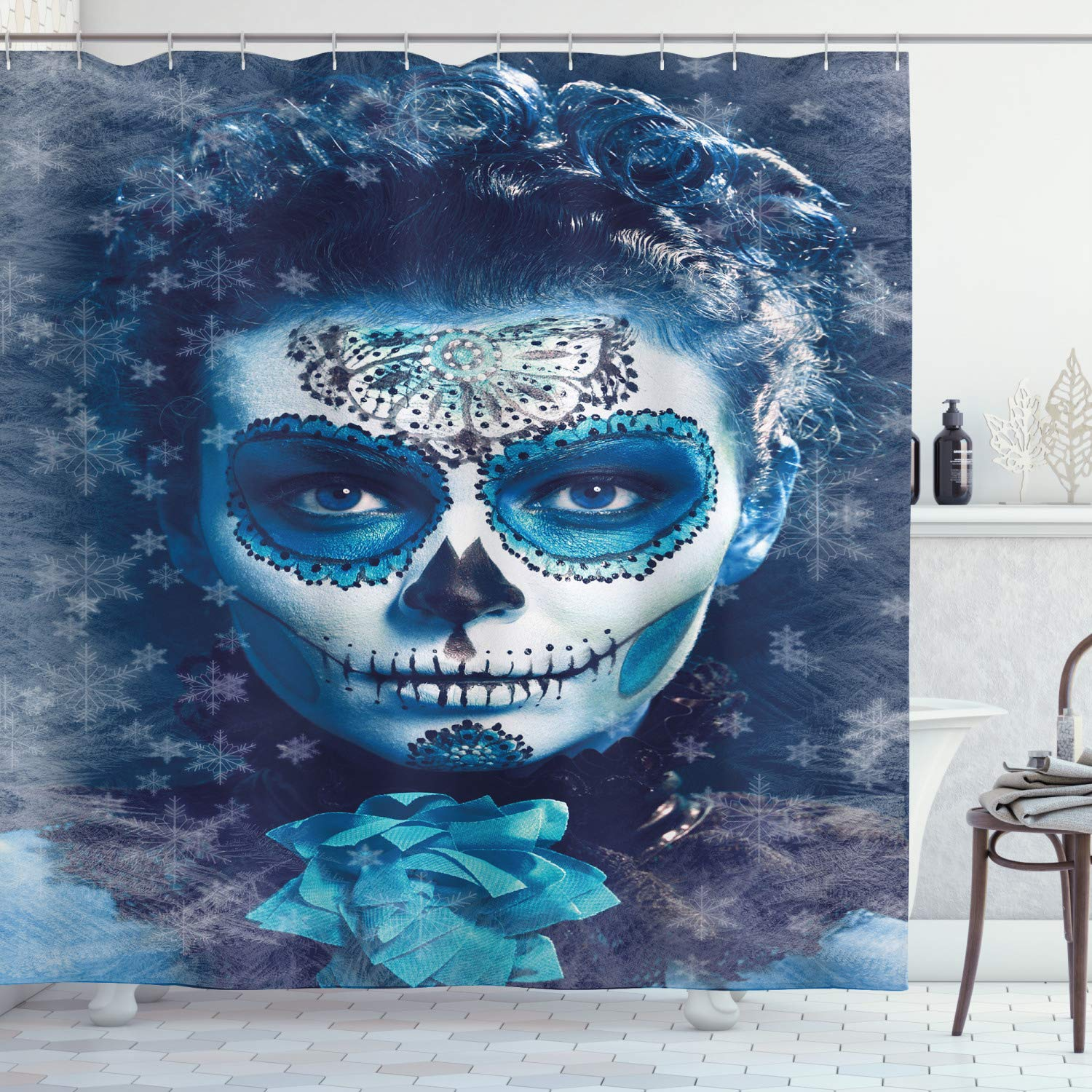 "Ambesonne Sugar Skull Shower Curtain, Santa Muerte Concept Winter Season Ice Cold Snowflakes Frozen Dead Folkloric, Cloth Fabric Bathroom Decor Set with Hooks, 75"" Long, Pale Blue"
