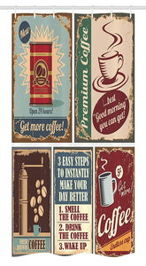 Ambesonne 1950s Stall Shower Curtain, Coffee Posters and Metal Signs Artistic Design Bean Cup Tin Espresso Mug Cappuccino Logo, Fabric Bathroom Decor Set with Hooks 36 W x 72 L inches,