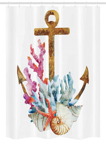 "Ambesonne Anchor Stall Shower Curtain, Anchor with Corals Seaweed Nature Deep Sea Underwater Life Diving Enjoyment, Fabric Bathroom Decor Set with Hooks, 54"" X 78"", Caramel Multicolor"