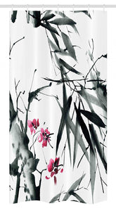 "Ambesonne Japanese Stall Shower Curtain, Natural Bamboo Stems Cherry Blossom Japanese Inspired Folk Print, Fabric Bathroom Decor Set with Hooks, 36"" X 72"", Green Fuchsia"
