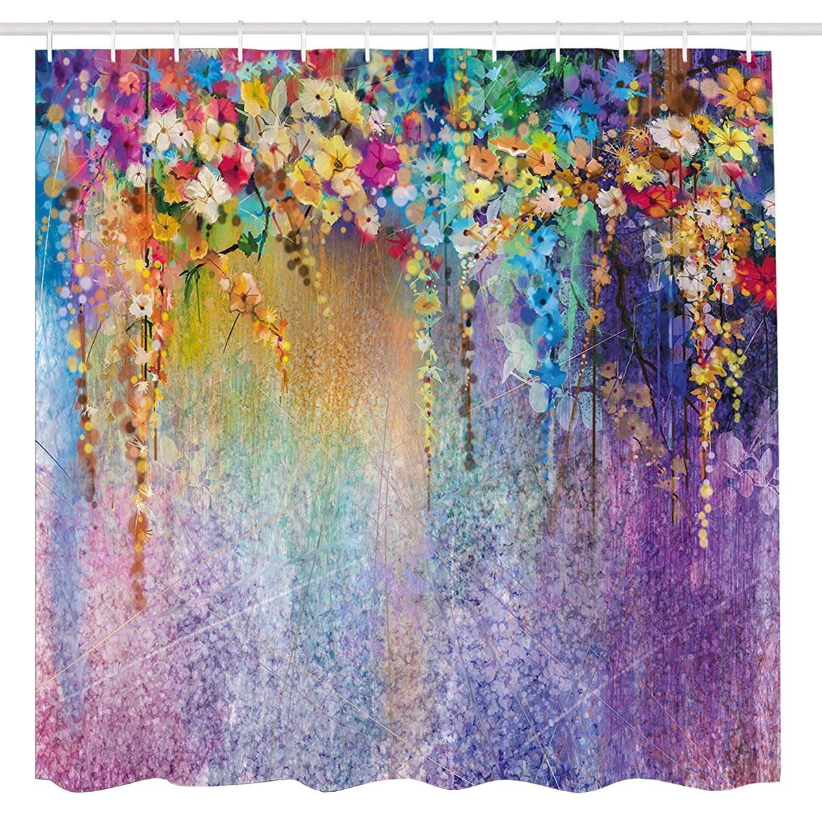BROSHAN Watercolor Flower Shower Curtain Set, Abstract Purple Weeping Flower Wisteria Blurred Art Painting, Colorful Fabric Waterproof Bathroom Decor Set with Hooks,72 x 72 Inch