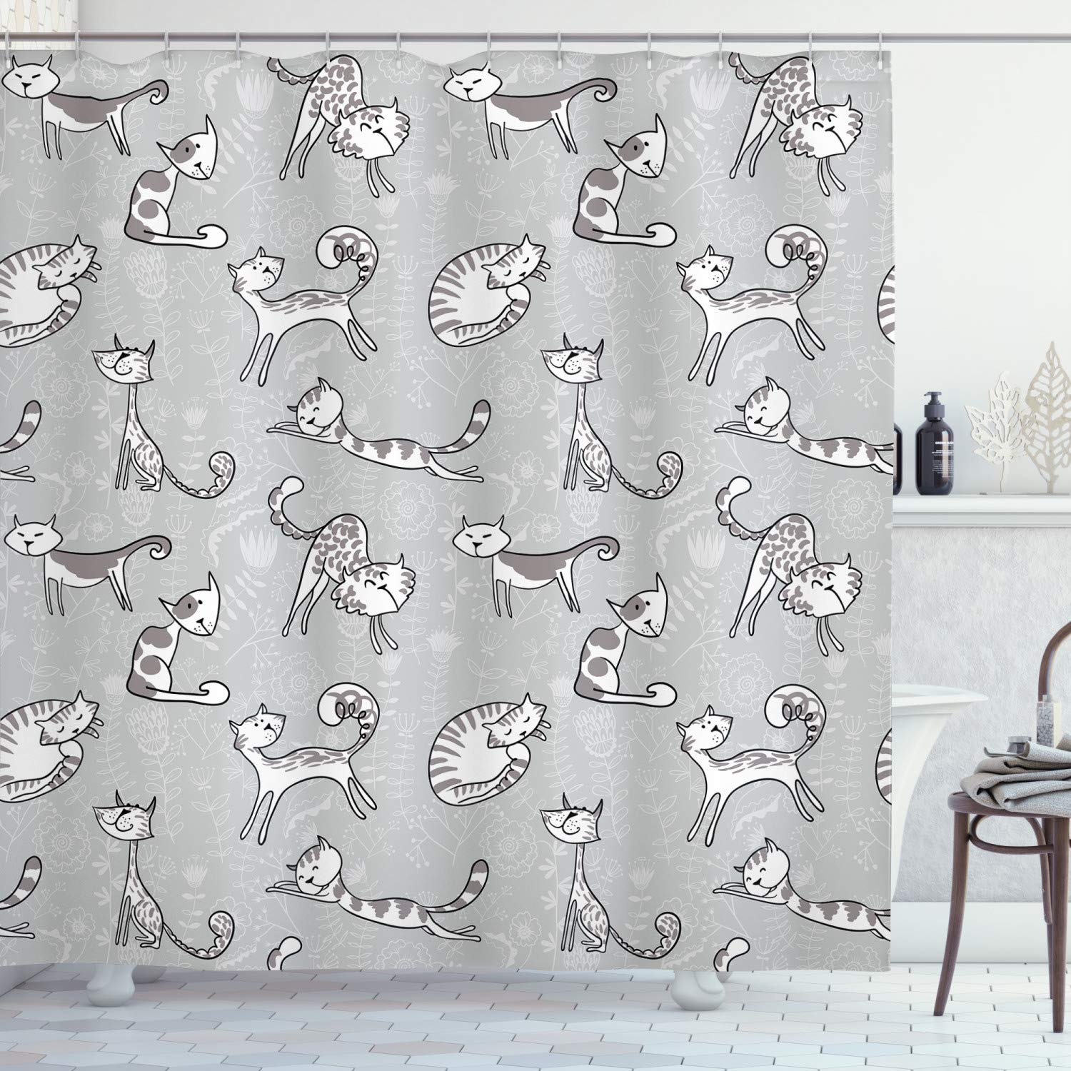 Ambesonne Grey Decor Shower Curtain, Cute Cat Figures Posing Over Floral Background Feline Kitten Kitty Cartoon Art Prints, Fabric Bathroom Decor Set with Hooks, 70 Inches, Grey