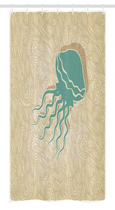 "Ambesonne Jellyfish Stall Shower Curtain, Beach Summer Oceanic Life Tropicalea Animal Nautical Abstract Pattern, Fabric Bathroom Decor Set with Hooks, 36"" X 72"", Brown Seafoam"