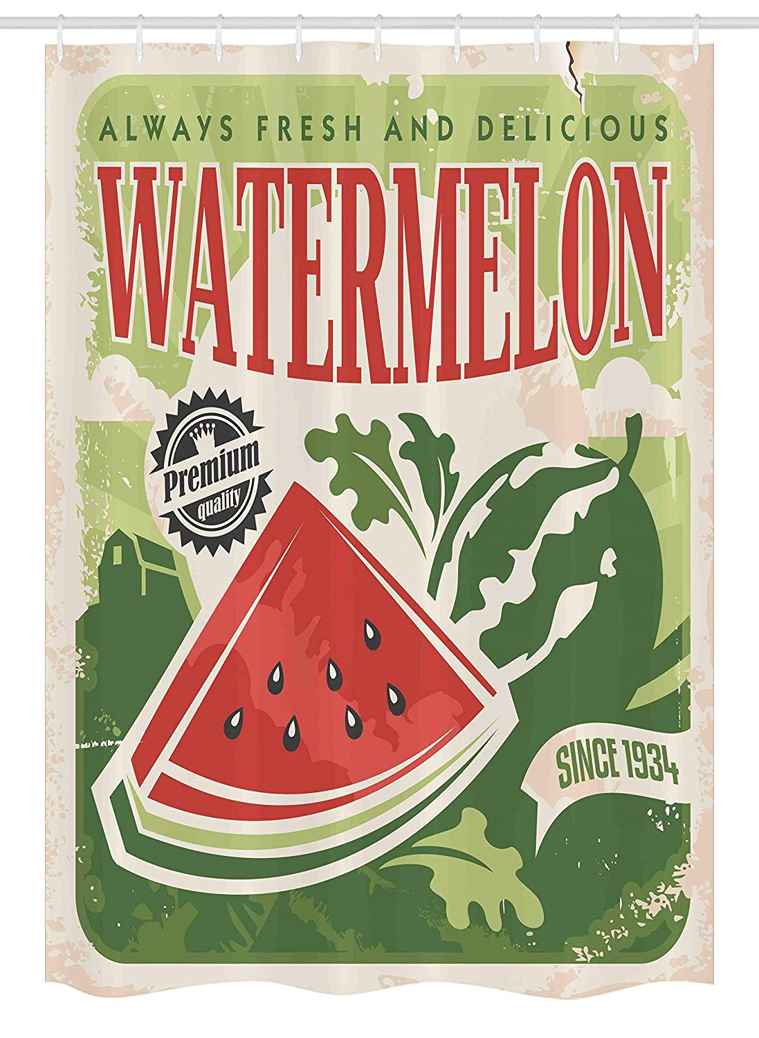 Ambesonne Vintage Stall Shower Curtain, Vintage Old Fashioned Funny Watermelon with Faded Colors Classic Graphic Art, Fabric Bathroom Decor Set with Hooks, 54 W x 78 L Inches, Green Red Ecru