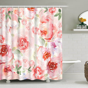 Bathroom Shower Curtain Romantic Watercolor Flowers Shower Curtains, Durable Fabric Bathroom Curtain Waterproof Bath Curtain Set with 12 Hooks