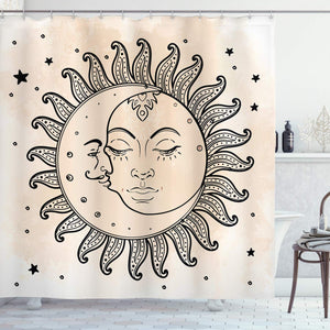 "Ambesonne Sketchy Shower Curtain, Sun and Moon Celestial Composition Day`s Cycle Mystical Inspiration, Cloth Fabric Bathroom Decor Set with Hooks, 70"" Long, Charcoal Tan"