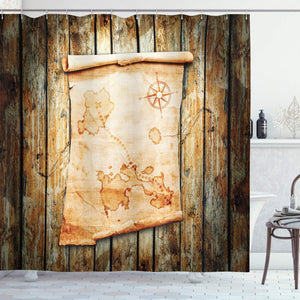 Ambesonne Island Map Shower Curtain, Treasure Map on Rustic Timber X Marks The Spot of Gold Nautical Pirates Concept, Fabric Bathroom Decor Set with Hooks, 84 Inches Extra Long, Cream Brown