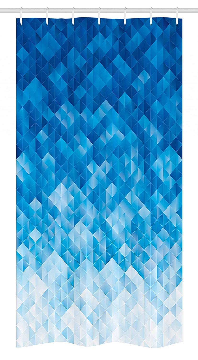 Ambesonne Geometric Stall Shower Curtain, Geometric Gradient Digital Texture with Mosaic Triangle Pixel Graphic Print Art, Fabric Bathroom Decor Set with Hooks, 36 W x 72 L inches, Light Blue