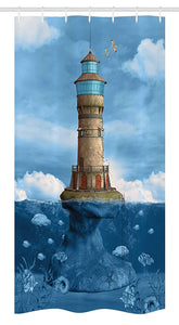 Ambesonne Lighthouse Decor Stall Shower Curtain, Lighthouse Seagulls Birds Architecture Maritime Reef Fish Undersea Scenic, Fabric Bathroom Decor Set with Hooks 36 W x 72 L inches,