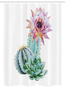 Ambesonne Cactus Decor Stall Shower Curtain, Cactus Spikes Flower in Hot Mexican Desert Sand Botanic Natural Image, Fabric Bathroom Decor Set with Hooks, 54 W x 78 L Inches, Pink Green and Blue
