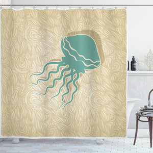 Ambesonne Jellyfish Nautical Decor Collection, Beach Summer and Ocean Tropical Abstract Pattern, Polyester Fabric Bathroom Shower Curtain Set with Hooks, 75 Inches Long, Tan Teal Wheat