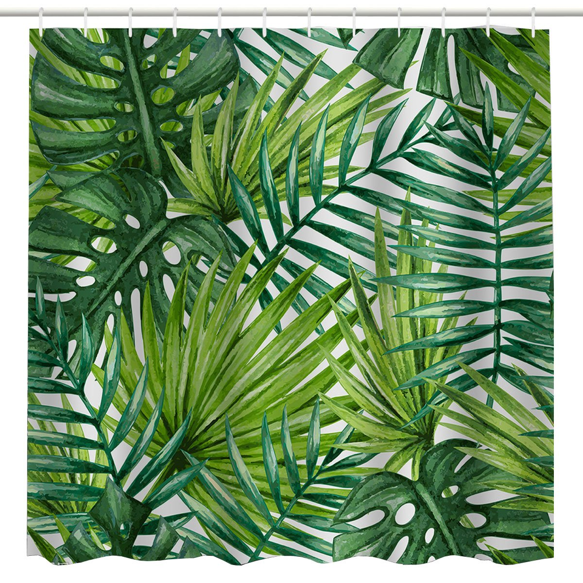 BROSHAN Leaf Print Shower Curtain Fabric Tropical Palm Leaves Pattern Hawaiian Plant Bathroom Decoration Green Natural Waterproof Fabric Bathroom Accessory with Hooks,
