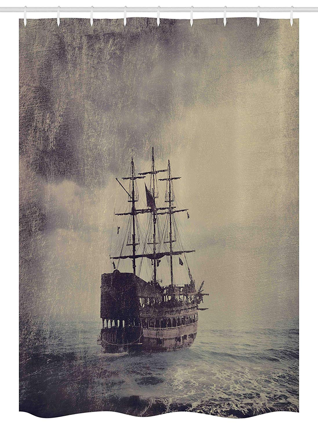 "Ambesonne Nautical Stall Shower Curtain, Old Pirate Ship in The Sea Historical Cruise Retro Voyage Grunge Style Art, Fabric Bathroom Decor Set with Hooks, 54"" X 78"", Tan Plum"