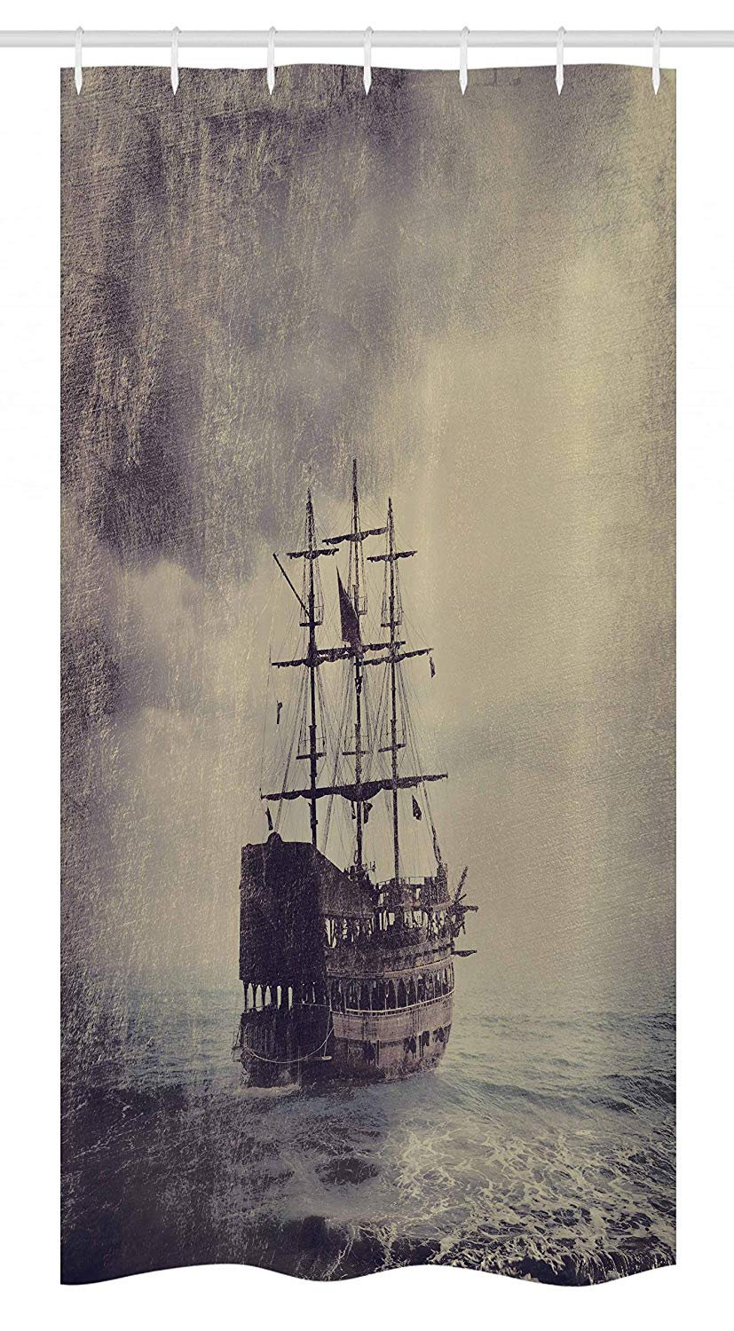 "Ambesonne Nautical Stall Shower Curtain, Old Pirate Ship in The Sea Historical Cruise Retro Voyage Grunge Style Art, Fabric Bathroom Decor Set with Hooks, 36"" X 72"", Tan Plum"