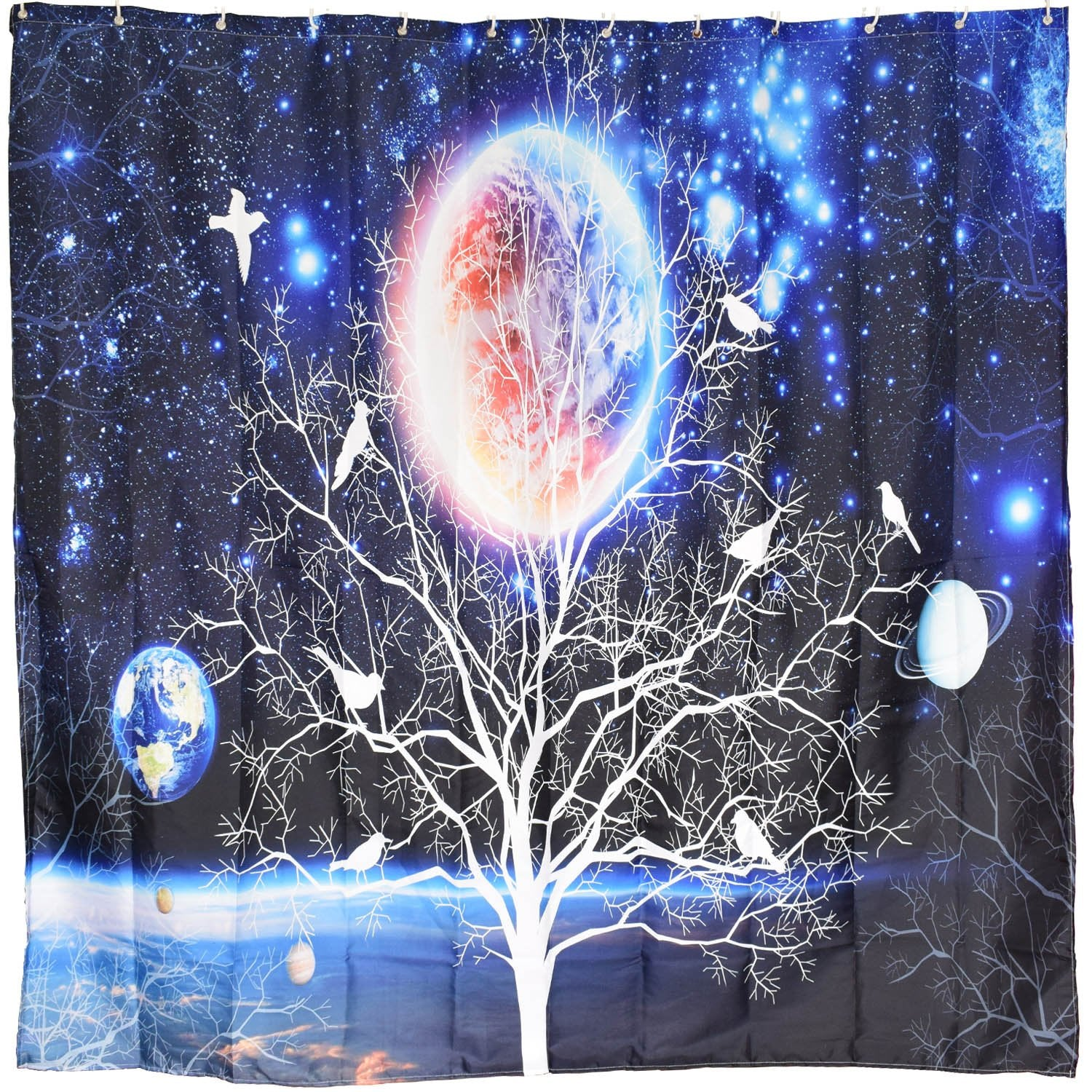 BROSHAN Nature Fabric Shower Curtain Set, Galaxy Nebula Planet Star Tree Birds Silhouette Art Design Blue Space Waterproof Fabric Bathroom Accessories with Hooks,