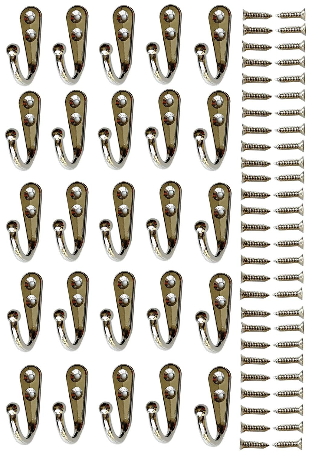 25 Pieces Wall Mounted Coat Hook Robe Hooks Cloth Hanger Coat Hanger Coat Hooks Rustic Hooks and 54 Pieces Screws for Bath Kitchen Garage Silver Single Coat Hanger