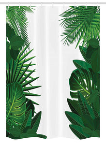 "Ambesonne Leaf Stall Shower Curtain, Exotic Fantasy Hawaiian Tropical Palm Leaves with Floral Graphic Artwork Print, Fabric Bathroom Decor Set with Hooks, 54"" X 78"", Green White"