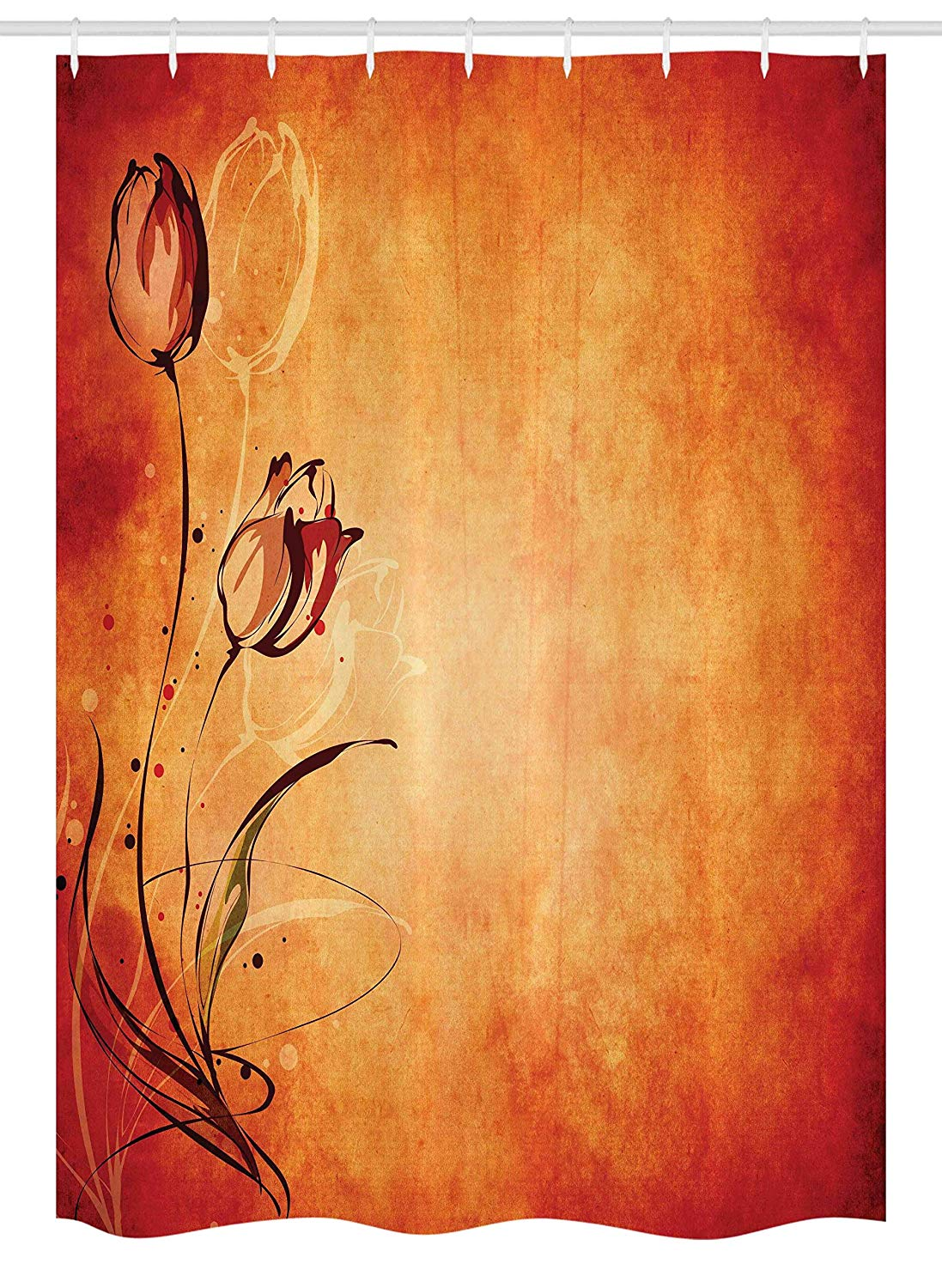 "Ambesonne Antique Stall Shower Curtain, Vintage Aged Background with The Silhouette of Rose Bloom Digital Image, Fabric Bathroom Decor Set with Hooks, 54"" X 78"", Orange Mustard Maroon"