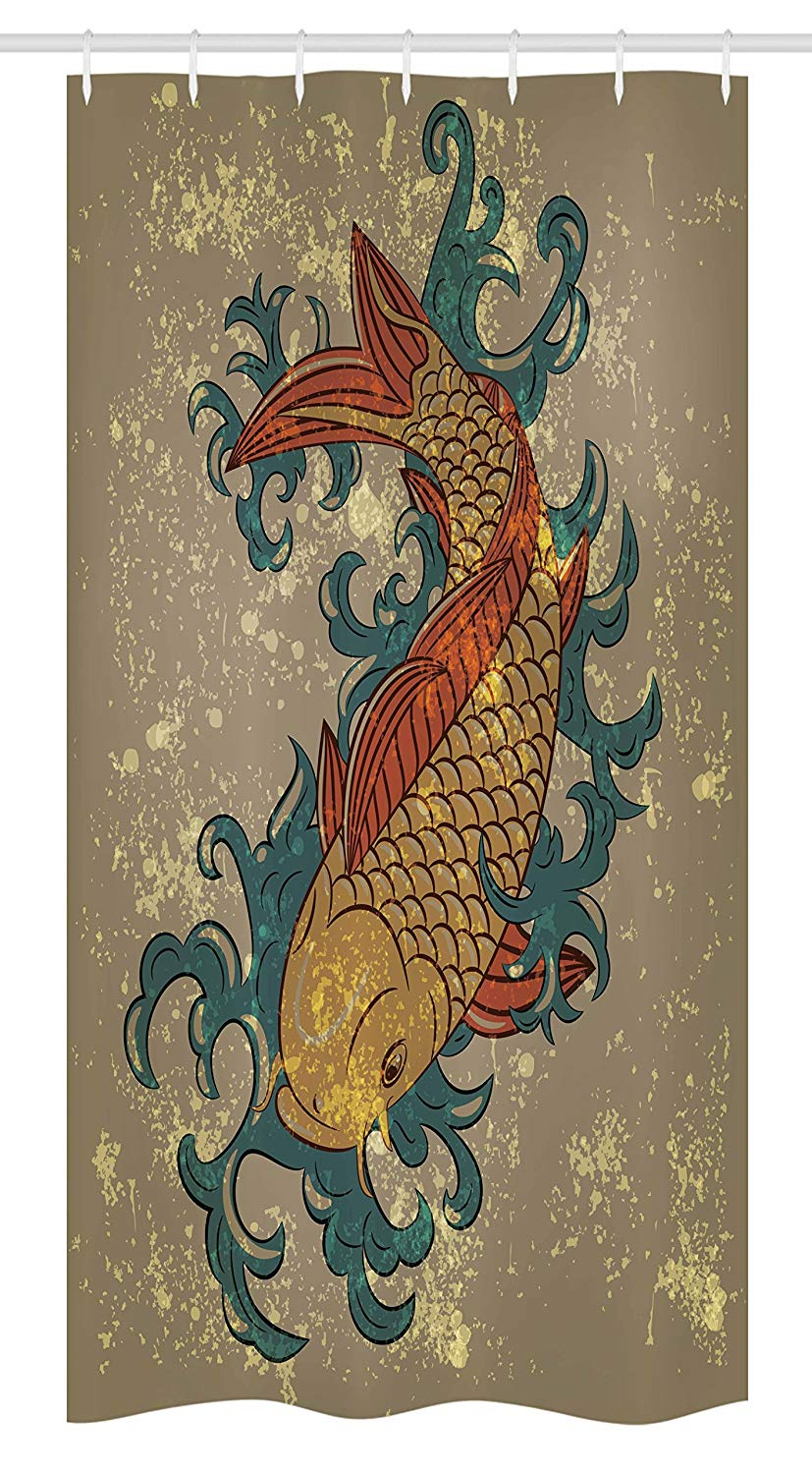 "Ambesonne Japanese Stall Shower Curtain, Grunge Style Oriental Water Koi Carp Fish Aquatic Theme Distressed Pattern, Fabric Bathroom Decor Set with Hooks, 36"" X 72"", Taupe Teal"