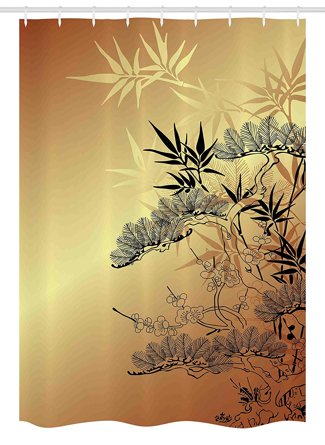 "Ambesonne Japanese Stall Shower Curtain, Branches and Bamboo Motifs with Showy Fragrant Leaves Nature Illustration, Fabric Bathroom Decor Set with Hooks, 54"" X 78"", Sepia Black"