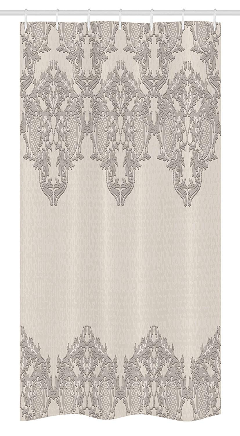 Ambesonne Taupe Stall Shower Curtain, Lace Like Framework Borders with Arabesque Details Delicate Intricate Retro Dated Print, Fabric Bathroom Decor Set with Hooks, 36 W x 72 L Inches, Taupe