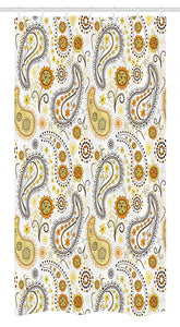 "Ambesonne Sunflower Stall Shower Curtain, Floral Pattern with Sunflowers and Paisley Vintage Boho, Fabric Bathroom Decor Set with Hooks, 36"" X 72"", Orange Yellow"