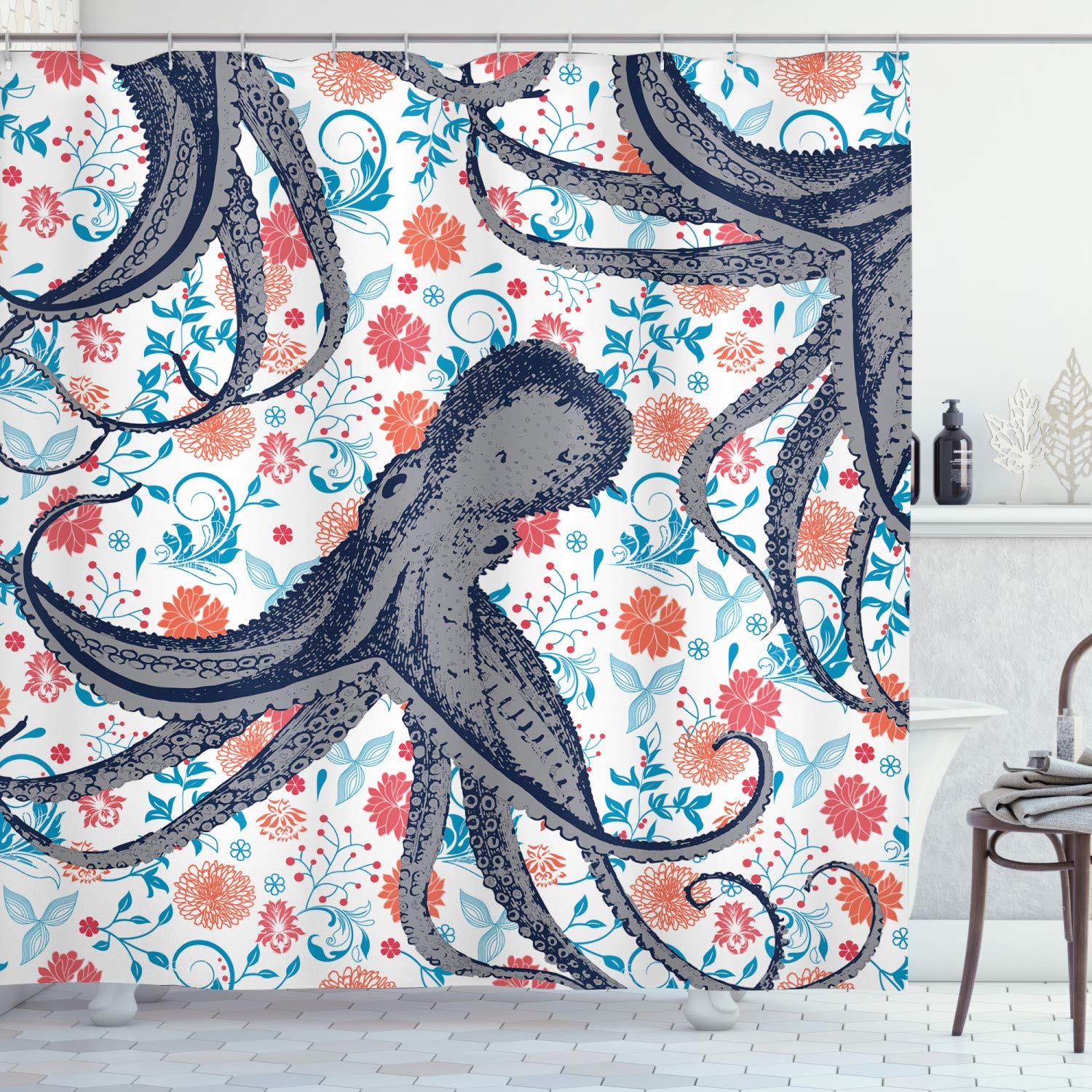 Ambesonne Nautical Decorations Collection, Sealife Sea Monster Octopus Kraken with Tentacles and Colorful Flowers, Polyester Fabric Bathroom Shower Curtain Set with Hooks, Blue White