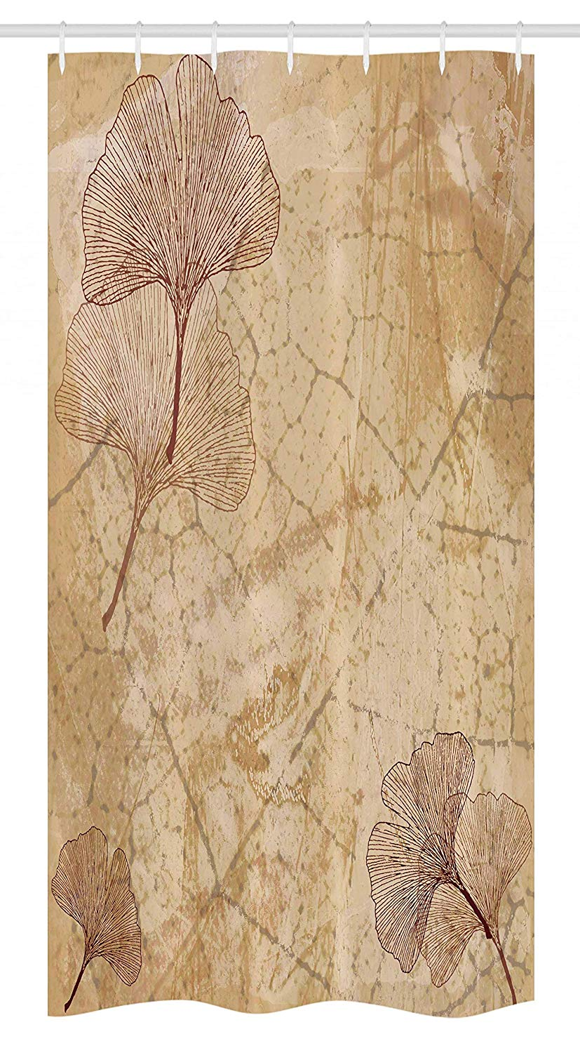 "Ambesonne Beige Stall Shower Curtain, Small Large Ginkgo Leaves Pattern Dramatic Dated Fossil Maidenhair Tree Nature Art, Fabric Bathroom Decor Set with Hooks, 36"" X 72"", Brown Beige"