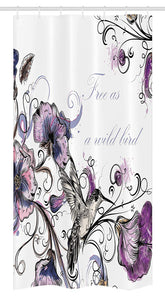 "Ambesonne Hummingbird Stall Shower Curtain, Flowers Leaves Bird and Classic Patterns Curvy Lines Ornament Nostalgic Art, Fabric Bathroom Decor Set with Hooks, 36"" X 72"", Purple Black"