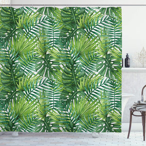 "Ambesonne Leaf Shower Curtain, Tropical Exotic Banana Forest Palm Tree Leaves Watercolor Design Image, Cloth Fabric Bathroom Decor Set with Hooks, 75"" Long, Green"